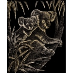 "Royal & Langnickel® Engraving Art Set Gold Foil Koala Bears: 8"" x 10"", Metallic, (model GOLF17), price per set"
