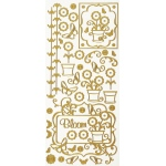 "Dazzles™ Stickers Gold Potted Flower: Metallic, 4"" x 9"", Outline, (model HOTP1609), price per each"
