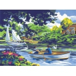 "Royal & Langnickel® Painting by Numbers™ 12 3/4 x 15 3/4 Adult Set Boating on the River: 12 3/4"" x 15 3/4"", (model PAL8), price per set"