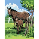"Royal & Langnickel® Painting by Numbers™ 8 3/4 x 11 3/8 Junior Small Set Mare & Foal: 8 3/4"" x 11 3/8"", (model PJS21), price per set"