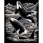 "Royal & Langnickel® Engraving Art Set Silver Foil Orca Whales: 8"" x 10"", Metallic"
