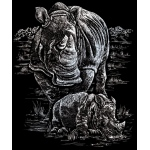 "Royal & Langnickel® Engraving Art Set Silver Foil Rhinoceros & Baby: 8"" x 10"", Metallic, (model SILF21), price per set"