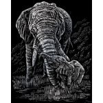 "Royal & Langnickel® Engraving Art Set Silver Foil Elephant & Baby: 8"" x 10"", Metallic, (model SILF22), price per set"