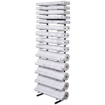 "Brookside Design Open Wall Racks for High Capacity Rolled Blueprint Storage 14 Bins: 14 Slots, Black/Gray, Steel, 11""d x 21""w x 84""h, (model VWR64), price per each"