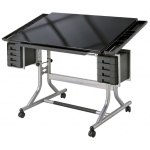 "Alvin® CraftMaster™ II Deluxe Art & Drawing Glass Top Table: 0 - 30, Black/Gray, Steel, 27 3/4"" - 32 1/4"", Black/Gray, Glass, 28"" x 40"", (model CM48GL), price per each"