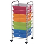"Blue Hills Studio™ Storage Cart 8-Drawer (Wide) Multi-Colored: Multi, 12 3/8""l x 12 3/8""w x 3 1/2""h, Plastic, 8-Drawer, (model SC8MC-12), price per each"