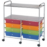 "Blue Hills Studio™ Storage Cart 8-Drawer (Wide) with 2-Shelf Multi-Colored: Multi, 12 3/8""l x 12 3/8""w x 3 1/2""h, Plastic, 8-Drawer, (model SC8MCDW-12-S), price per each"