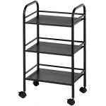 "Blue Hills Studio™ Storage Cart 3-Shelf Black: Black/Gray, Plastic, 3-Shelf, 12""d x 4 1/4""w x 29 3/4""h, (model SH3BK), price per each"