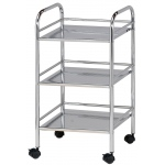 "Blue Hills Studio™ Storage Cart 3-Shelf Chrome: Metallic, Plastic, 3-Shelf, 12""d x 4 1/4""w x 29 3/4""h, (model SH3CH), price per each"