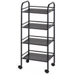 "Blue Hills Studio™ Storage Cart 4-Shelf Black: Black/Gray, Plastic, 4-Shelf, 12""d x 14 1/2""w x 29 3/4""h, (model SH4BK), price per each"