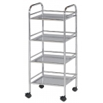 "Blue Hills Studio™ Storage Cart 4-Shelf Chrome: Metallic, Plastic, 4-Shelf, 12""d x 14 1/2""w x 29 3/4""h, (model SH4CH), price per each"
