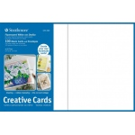 "Strathmore® 5 x 6.875 Fluorescent White/Deckle Creative Cards 100-Pack: White/Ivory, Envelope Included, Card, 100 Cards, 5"" x 6 7/8"", 80 lb"