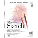 "Strathmore® 200 Series 8.5"" x 11"" Wire Bound Sketch Pad: Wire Bound, White/Ivory, Pad, 100 Sheets, 8 1/2"" x 11"", 50 lb"