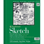 "Strathmore® 400 Series 5.5"" x 8.5"" Wire Bound Recycled Sketch Pad: Wire Bound, White/Ivory, Pad, 100 Sheets, 5 1/2"" x 8 1/2"", Recycled Sketch, 60 lb, (model ST457-5), price per 100 Sheets pad"