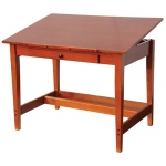 "Alvin® Vanguard™ Drawing Room Table 28"" x 42"": 0 - 45, Brown, Rubber Wood, 11 1/2""l x 21""w x 1 3/8""h, 30"", Brown, Rubber Wood, 28"" x 42"", (model VAN42), price per each"