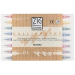 Zig® Calligraphy Markers 8-Color Set: Multi, Double-Ended, Water-Based, 2mm, 5mm, Broad Nib, Fine Nib, (model MS-3400/8V), price per set