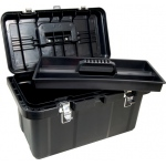 "Heritage Arts™ Large Art Tool Box: Black/Gray, Plastic, 10 1/2""d x 19 1/4""w x 11""h, (model HPB1911), price per each"
