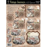 "Hot Off the Press 3-D Papier Tole Die Cuts Vintage Journeys: Multi, 8 1/2"" x 11"", (model HOTP8026), price per set"
