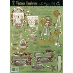 "Hot Off the Press 3-D Papier Tole Die Cuts Vintage Hardware: Multi, 8 1/2"" x 11"", (model HOTP8028), price per each"