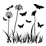 "The Crafter's Workshop 6"" x 6"" Design Template Butterfly Meadow: 6"" x 6"", Patterned Stencil, (model TCW197S), price per each"