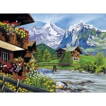 "Reeves™ Large Painting By Numbers Mountain Chalets: 12"" x 15 1/2"", (model PL30A), price per each"