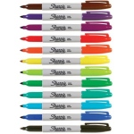 Sharpie® Fine Point Permanent 12-Color Marker Set: Multi, Fine Nib, (model SN30072), price per set