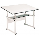 "Alvin® WorkMaster® Table White Base White Top 36"" x 48"": 0 - 40, White/Ivory, Steel, 29"" - 46"", White/Ivory, Melamine, 36"" x 48"""
