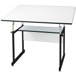 "Alvin® WorkMaster® Jr. Table Black Base White Top 31"" x 42"": 0 - 35, Black/Gray, Steel, 29"" - 44"", White/Ivory, Melamine, 31"" x 42"""