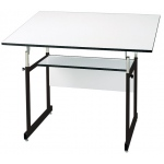 "Alvin® WorkMaster® Jr. Table Black Base White Top 36"" x 48"": 0 - 35, Black/Gray, Steel, 29"" - 44"", White/Ivory, Melamine, 36"" x 48"""