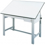 "Alvin® DesignMaster Table Gray Base White Top 2 Drawers 37.5"" x 72"": 0 - 45, Black/Gray, Steel, 37"", White/Ivory, Melamine, 37 1/2"" x 72"""