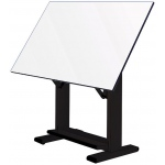 "Alvin® Elite Table Black Base White Top 37.5"" x 60"": 0 - 85, Black/Gray, Steel, 38"" - 45"", White/Ivory, Melamine, 37 1/2"" x 60"""