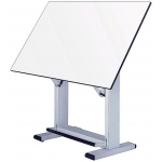"Alvin® Elite Table White Base White Top 37.5"" x72"": 0 - 85, Black/Gray, Steel, 38"" - 45"", White/Ivory, Melamine, 37 1/2"" x 72"""