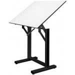 "Alvin® Ensign Table Black Base White Top 31"" x 42"": 0 - 90, Black/Gray, Steel, 37"" - 47"", White/Ivory, Melamine, 31"" x 42"""