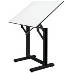 "Alvin® Ensign Table Black Base White Top 36"" x 48"": 0 - 90, Black/Gray, Steel, 37"" - 47"", White/Ivory, Melamine, 36"" x 48"""