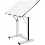 "Alvin® Ensign Table White Base White Top 31"" x 42"": 0 - 90, White/Ivory, Steel, 37"" - 47"", White/Ivory, Melamine, 31"" x 42"""