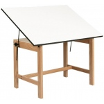 "Alvin® Titan Solid Oak Office Table Natural Finish 31"" x 42"" x 30"": 0 - 45, Brown, Oak, 30"", White/Ivory, Melamine, 31"" x 42"""