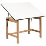 "Alvin® Titan Solid Oak Office Table Natural Finish 37 1/2"" x 60"" x 30"": 0 - 45, Brown, Oak, 30"", White/Ivory, Melamine, 37 1/2"" x 60"""