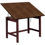 "Alvin® Titan Solid Oak Table Walnut Finish 31"" x 42"" x 30"": 0 - 45, Brown, Oak, 30"", Brown, Melamine, 31"" x 42"", (model WOB42-WA), price per each"