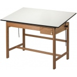 "Alvin® Titan II Solid Oak White Top Drafting Table 2 Drawers 37 1/2"" x 60"": 0 - 45, Brown, Oak, 37 1/2"", White/Ivory, Melamine, 37 1/2"" x 60"""