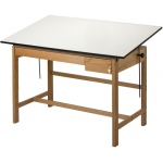"Alvin® Titan II Solid Oak White Top Drafting Table 2 Drawers 37 1/2"" x 72"": 0 - 45, Brown, Oak, 37 1/2"", White/Ivory, Melamine, 37 1/2"" x 72"""