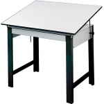 "Alvin® DesignMaster Table Black Base White Top 37.5"" x 60"": 0 - 45, Black/Gray, Steel, 37"", White/Ivory, Melamine, 37 1/2"" x 60"""