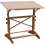"Alvin® Pavillon Art and Drawing Table Unfinished Wood Top 24"" x 36"": 0 - 60, Brown, 31"" - 40"", Wood, Brown, 24"" x 36"""