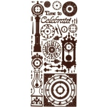 "Dazzles™ Stickers Brown Clock: Brown, 4"" x 9"", Outline, (model HOTP1658), price per each"