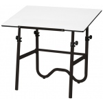 "Alvin® Onyx Black Base with White 30"" x 42"" Top: 0 - 45, Black/Gray, Steel, 29"" - 44"", White/Ivory, 30"" x 42"""