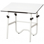 "Alvin® Onyx White Base with White 24"" x 36"" Top: 0 - 45, White/Ivory, Steel, 29"" - 44"", White/Ivory, 24"" x 36"""