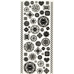"Dazzles™ Stickers Buttons Black Glitter: Metallic, 4"" x 9"", Flat, (model HOTP1917), price per each"