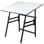 "Alvin® Professional Table Black Base White Top 31"" x 42"": 0 - 45, Black/Gray, Steel, 29"" - 45"", White/Ivory, Melamine, 31"" x 42"""