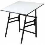 "Alvin® Professional Table Black Base White Top 36"" x 48"": 0 - 45, Black/Gray, Steel, 29"" - 45"", White/Ivory, Melamine, 36"" x 48"""