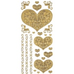 "Dazzles™ Stickers Gold Stacked Heart: Metallic, 4"" x 9"", Outline, (model HOTP1832), price per each"