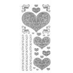 "Dazzles™ Stickers Silver Stacked Heart: Metallic, 4"" x 9"", Outline, (model HOTP1844), price per each"